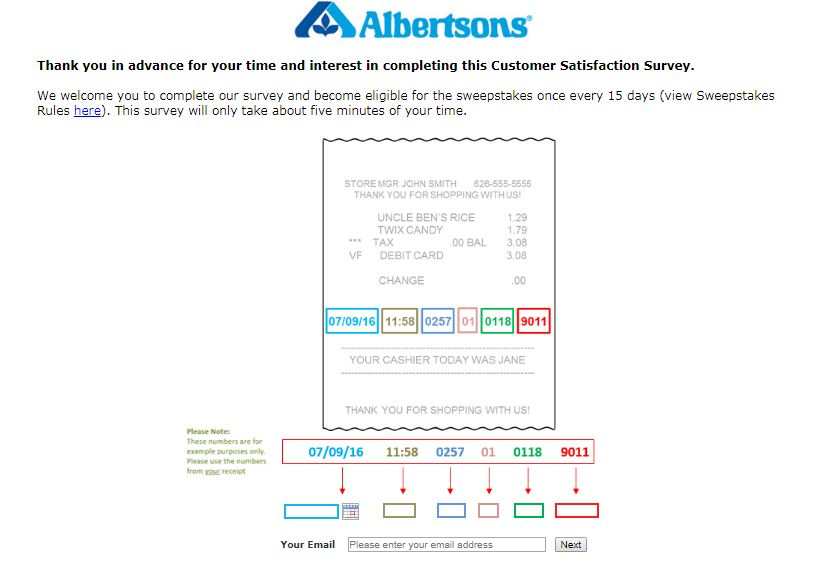 albertsons survey