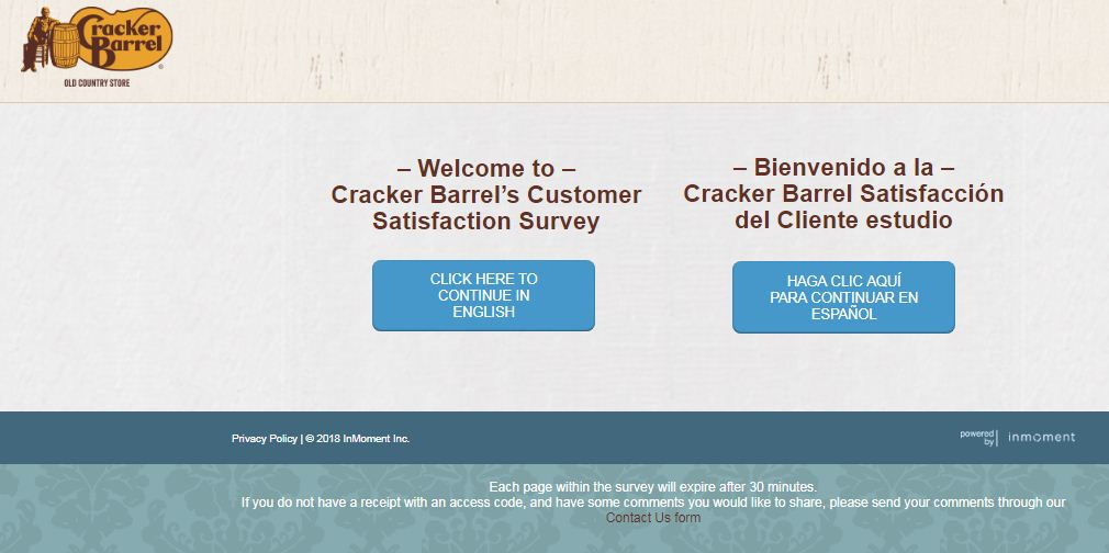 Cracker Barrel Customer Survey