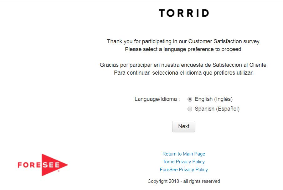 torrid survey