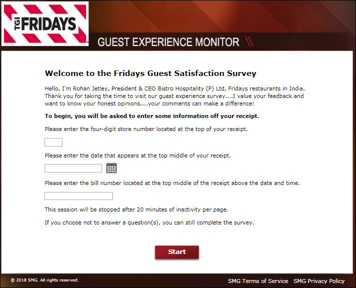 T.G.I. Friday's Guest Experience Feedback Survey