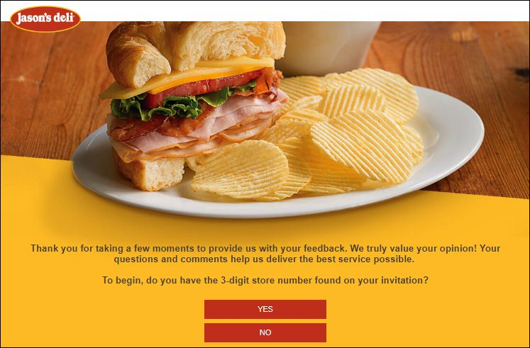 Jason's Deli Customer survey