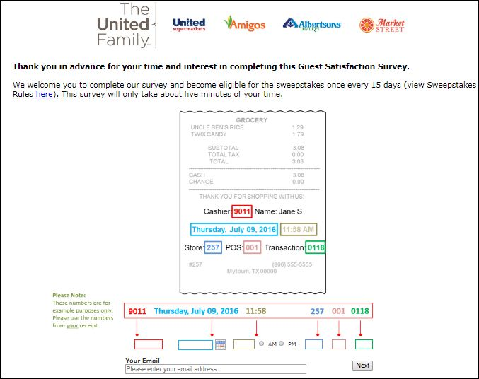 united supermarket survey