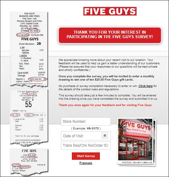 five guys online survey