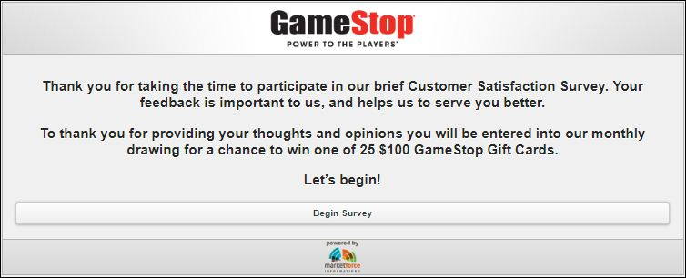 GameStop customer Feedback Survey