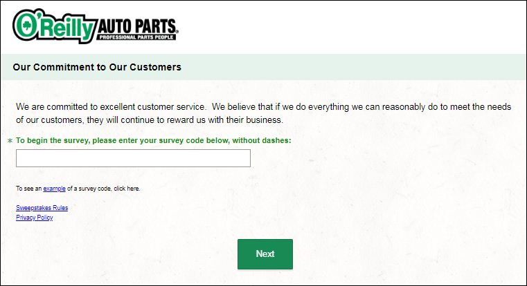 O'Reilly Auto Pats Guest Satisfaction survey