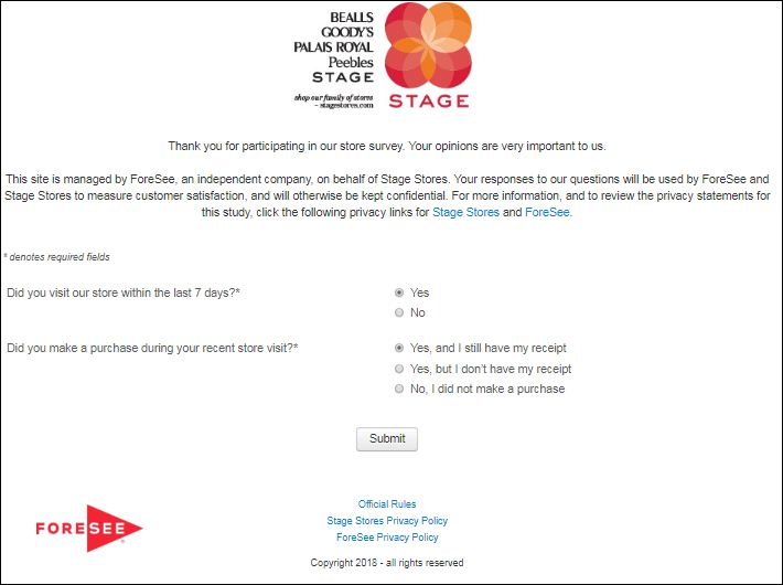 stage store customer survey