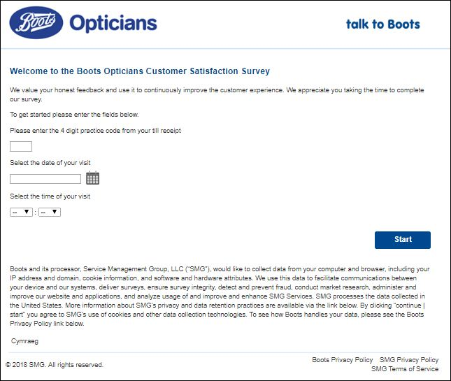 boots opticians Feedback Survey