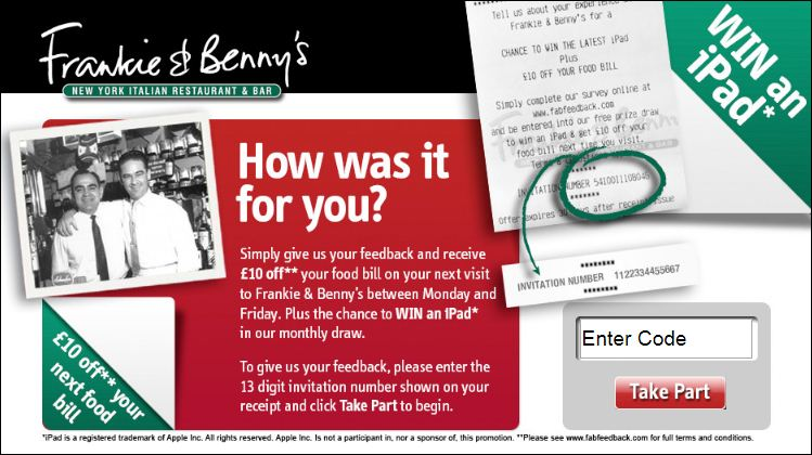 frankie and Benny's customer experience survey