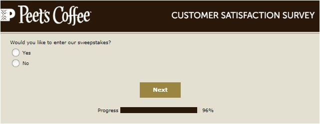 Peet's Coffee & Tea Cafe survey