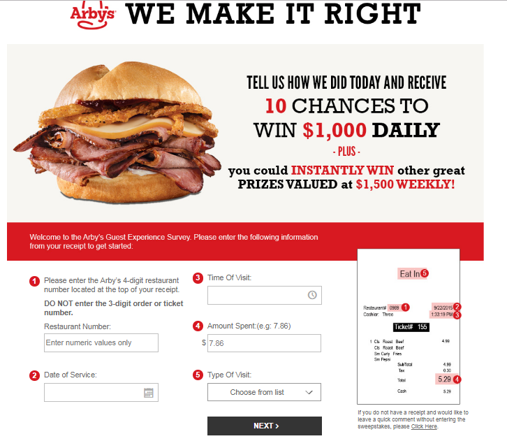 Arby's Guest Experience Survey