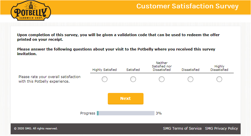 Potbelly Survey Free Cookie